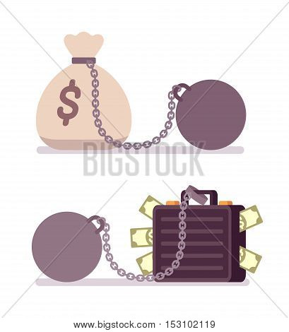 Case full of money and money sack on a metal chain with weight. Cartoon vector flat-style illustration
