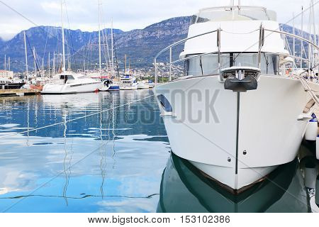 White Luxury Yacht Gocked In Marina