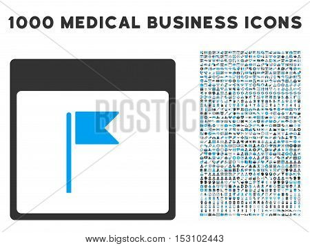 Blue And Gray Flag Calendar Page glyph icon with 1000 medical business pictograms. Set style is flat bicolor symbols, blue and gray colors, white background.