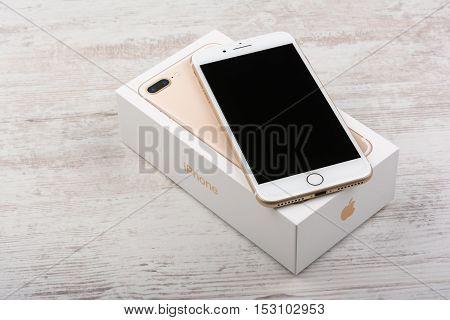 BURGAS, BULGARIA - OCTOBER 22, 2016: New Apple iPhone 7 Plus Gold on white background, illustrative editorial.