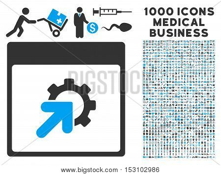 Blue And Gray Gear Integration Calendar Page glyph icon with 1000 medical business pictograms. Set style is flat bicolor symbols, blue and gray colors, white background.