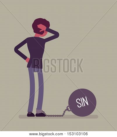 Businessman chained with a giant metall weight, written Sin on a ball, thinking the problem over, scratching his head. Rear view. Cartoon vector flat-style concept illustration