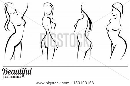 Set stylized beautiful women silhouettes vector illustration