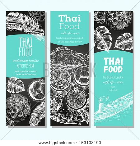 Asian food banner set. Asian food vertical banner collection. Thai food menu restaurant. Thai food sketch menu. Linear graphic