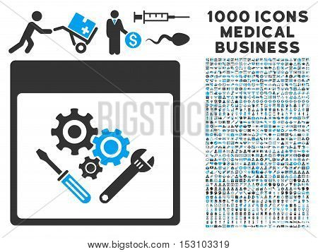 Blue And Gray Gear Tools Calendar Page glyph icon with 1000 medical business pictograms. Set style is flat bicolor symbols, blue and gray colors, white background.