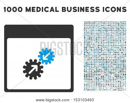 Blue And Gray Gears Integration Calendar Page glyph icon with 1000 medical business pictograms. Set style is flat bicolor symbols, blue and gray colors, white background.