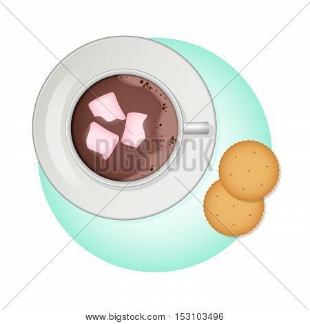 Vector illustration. Cup of cocoa, pink marshmallow and crackers.