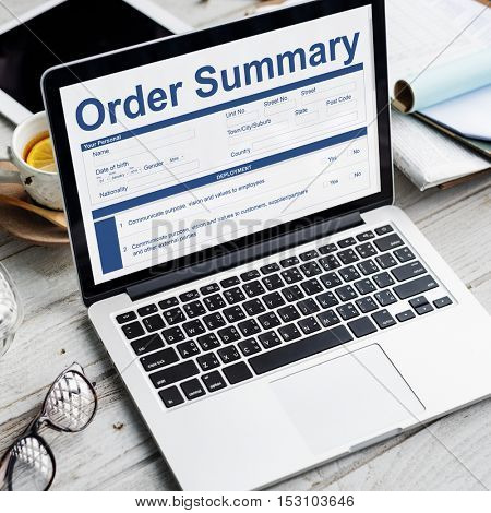 Order Summary Document Form Invoice Concept