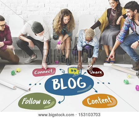 Blog Share Follow us Concept
