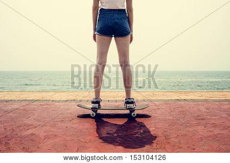 Skateboard Recreational Pursuit Summer Beach Holiday Concept