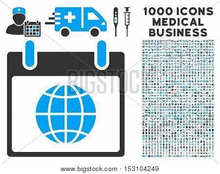 Blue And Gray Globe Calendar Page glyph icon with 1000 medical business pictograms. Set style is flat bicolor symbols, blue and gray colors, white background.