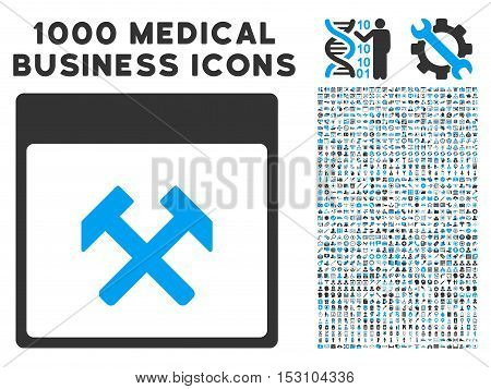 Blue And Gray Hammers Calendar Page glyph icon with 1000 medical business pictograms. Set style is flat bicolor symbols, blue and gray colors, white background.