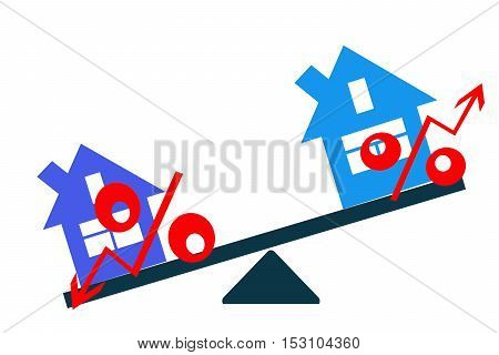 Interest on the balance real estate market . Concept .