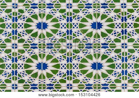 decorative pattern of tiles in Moroccan style.