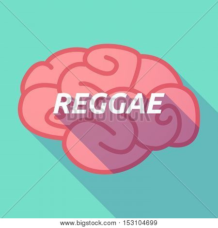 Long Shadow Pink Brain Icon With    The Text Reggae