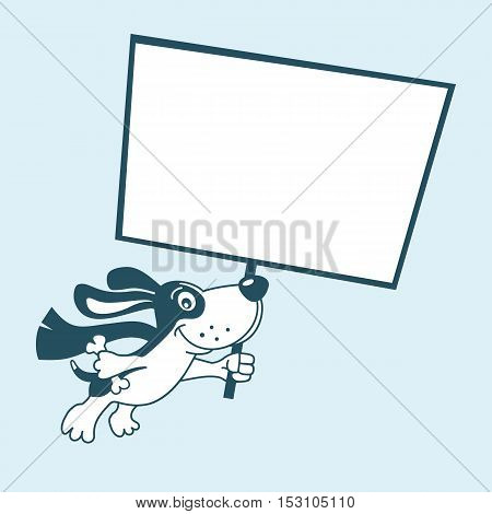 Funny Cute Super Dog Flying In Sky Holding Poster For Your Offer. Vector Cartoon Character Isolated