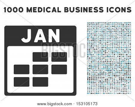 Blue And Gray January Calendar Grid glyph icon with 1000 medical business pictograms. Set style is flat bicolor symbols, blue and gray colors, white background.