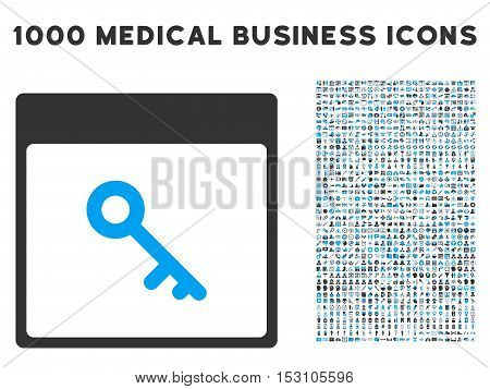Blue And Gray Key Calendar Page glyph icon with 1000 medical business pictograms. Set style is flat bicolor symbols, blue and gray colors, white background.