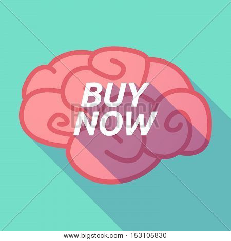 Long Shadow Pink Brain Icon With    The Text Buy Now