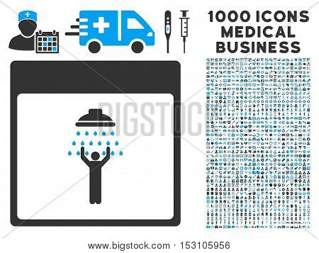 Blue And Gray Man Shower Calendar Page glyph icon with 1000 medical business pictograms. Set style is flat bicolor symbols, blue and gray colors, white background.