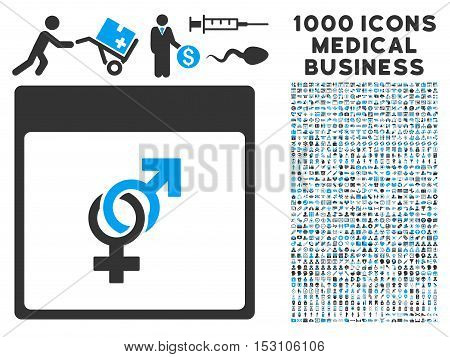 Blue And Gray Marriage Calendar Page glyph icon with 1000 medical business pictograms. Set style is flat bicolor symbols, blue and gray colors, white background.