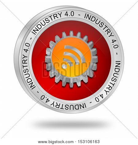 red Industry 4.0 button - 3D illustration