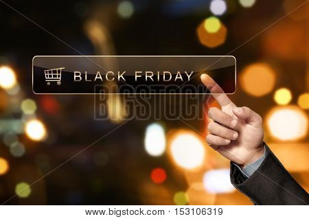 Man Hand Touching Black Friday In The Search Bar