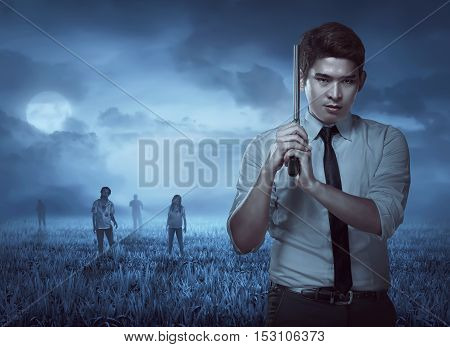 Secret agent holding gun ready to fire with zombie on the back