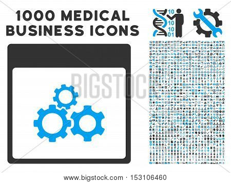 Blue And Gray Mechanics Gears Calendar Page glyph icon with 1000 medical business pictograms. Set style is flat bicolor symbols, blue and gray colors, white background.