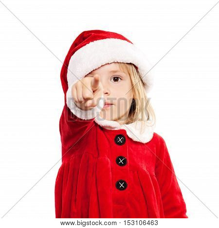 Christmas Child in Santa Hat Point the Finger and Choosing a Gift. Xmas Child Isolated on White