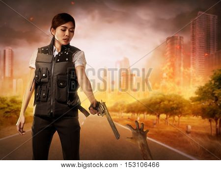 Brave woman with vest find the zombies on the street
