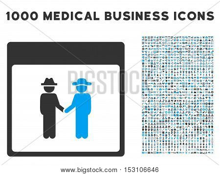 Blue And Gray Men Handshake Calendar Page glyph icon with 1000 medical business pictograms. Set style is flat bicolor symbols, blue and gray colors, white background.