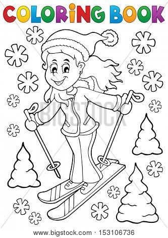 Coloring book skiing woman theme 1 - eps10 vector illustration.