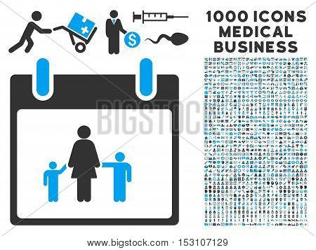 Blue And Gray Mother Calendar Day glyph icon with 1000 medical business pictograms. Set style is flat bicolor symbols, blue and gray colors, white background.