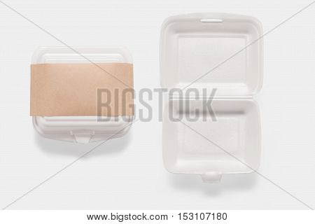 Collection Of Of Mockup Styrofoam Box Set Isolated On White Background. Copy Space For Text And Logo