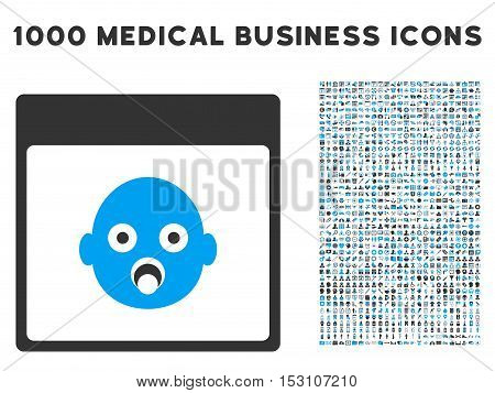 Blue And Gray Newborn Head Calendar Page glyph icon with 1000 medical business pictograms. Set style is flat bicolor symbols, blue and gray colors, white background.