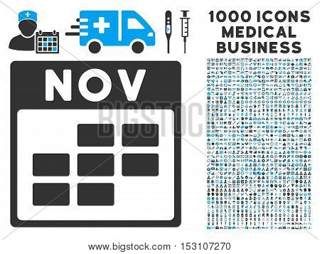 Blue And Gray November Calendar Grid glyph icon with 1000 medical business pictograms. Set style is flat bicolor symbols, blue and gray colors, white background.
