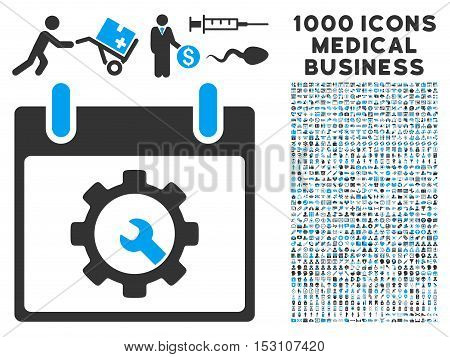 Blue And Gray Options Tools Calendar Day glyph icon with 1000 medical business pictograms. Set style is flat bicolor symbols, blue and gray colors, white background.