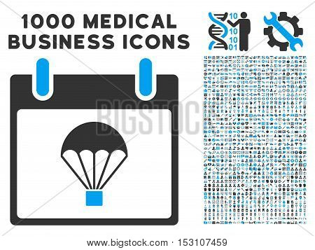 Blue And Gray Parachute Calendar Day glyph icon with 1000 medical business pictograms. Set style is flat bicolor symbols, blue and gray colors, white background.