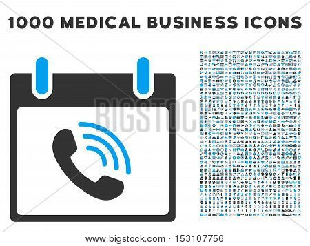 Blue And Gray Phone Call Calendar Day glyph icon with 1000 medical business pictograms. Set style is flat bicolor symbols, blue and gray colors, white background.