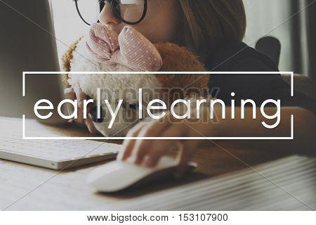 Little Girl Learn Online Geeky Concept