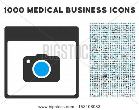 Blue And Gray Photo Camera Calendar Page glyph icon with 1000 medical business pictograms. Set style is flat bicolor symbols, blue and gray colors, white background.