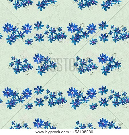 Seamless pattern with blue flowers. Floral watercolor background.