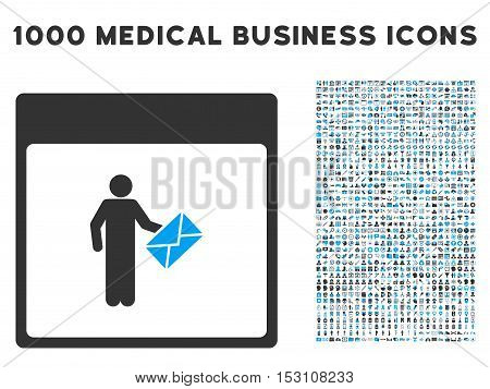 Blue And Gray Postman Calendar Page glyph icon with 1000 medical business pictograms. Set style is flat bicolor symbols, blue and gray colors, white background.
