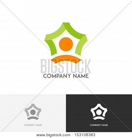 Business teamwork logo - person icons make a star symbol  on the white background