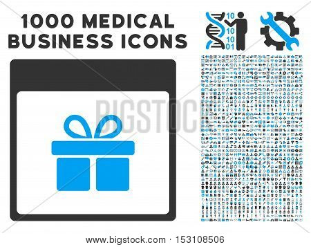 Blue And Gray Present Box Calendar Page glyph icon with 1000 medical business pictograms. Set style is flat bicolor symbols, blue and gray colors, white background.