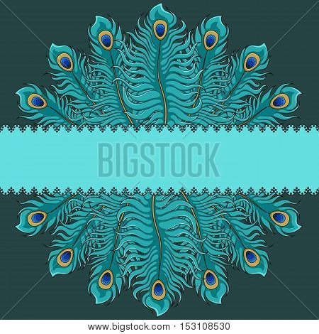 Card with peacock feathers and a place for an inscription.