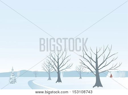 Holiday winter landscape background with tree-winter landscape