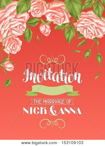 Wedding invitation card template with roses. Calligraphic text and vintage flowers.