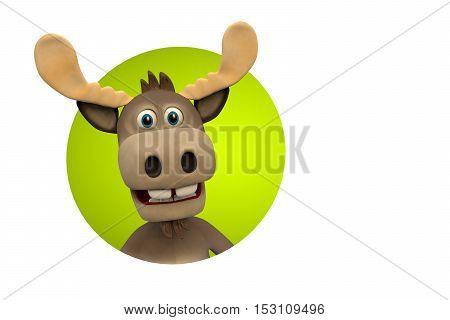Cute moose cartoon animal 3d illustration